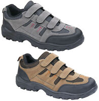 Mens New Velcro Hiking Trail Rambling Walking Trainers Boots Free UK Postage