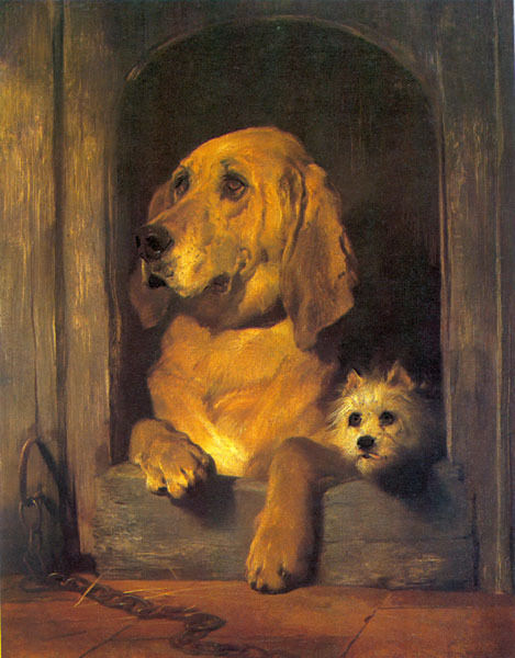 DOG DIGNITY AND IMPUDENCE DOGS FRIENDSHIP ANIMAL PAINTING BY LANDSEER REPRO