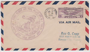 LETTRE-AERIENNE-USA-FIRST-FLY-1931-ATLANTIC-CITY-KANSAS-CITY-ROUTE-AM-19
