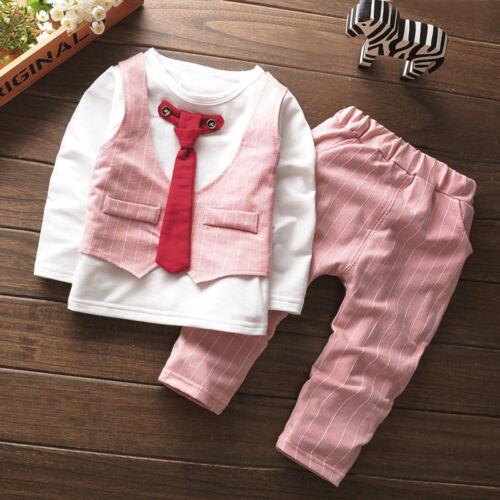 2PCS Enfant Bébé Garçons T-shirt Hauts Pantalon Long Formal Party Tenues Vêtements