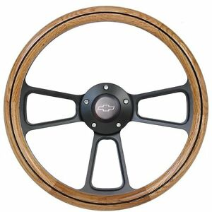 1970 1971 1973 Chevy C10 Pick-Up Truck Oak Steering Wheel Polished Adapter Kit