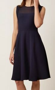 HOBBS-GILLIAN-NAVY-BLUE-SHEER-LACE-TEXTURED-50-039-S-FIT-N-FLARE-DRESS-10-ONCE-139