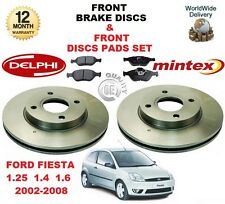 FOR FORD FIESTA 1.25 1.4 1.6 2002-2008 FRONT BRAKE DISCS SET + DISC PADS