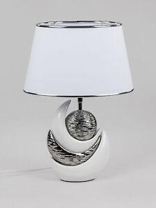 Lampada-da-Tavolo-Luce-Sfera-H-45cm-Bianco-Argento-Ceramica-Formano
