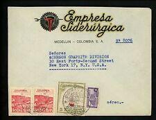 Postal History Colombia Sc #548+C136(2)+RA23 Steel Ad 1947 Medellin New York NY