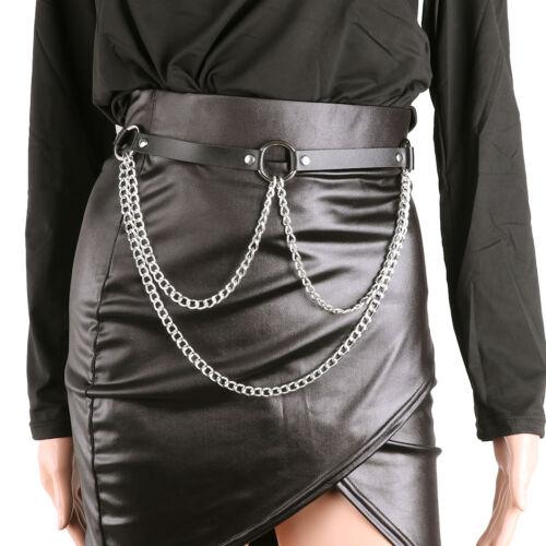 Women Punk Faux Leather Harness Garter Belt Adjustable Waist Leg w//Wallet Chain