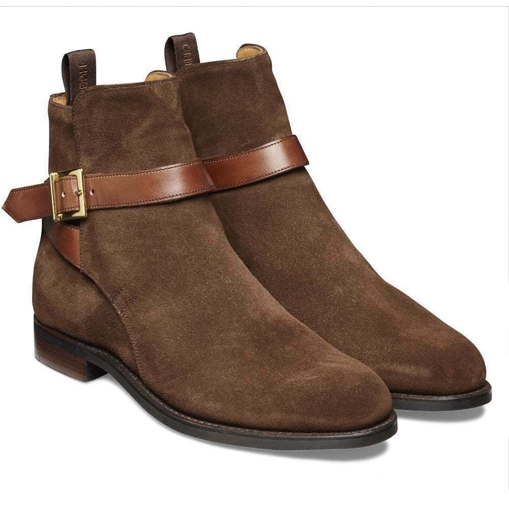 Homme Fait à la main véritable bottes cuir en Daim Marron Bottines à sangle et boucle Formel Chaussures