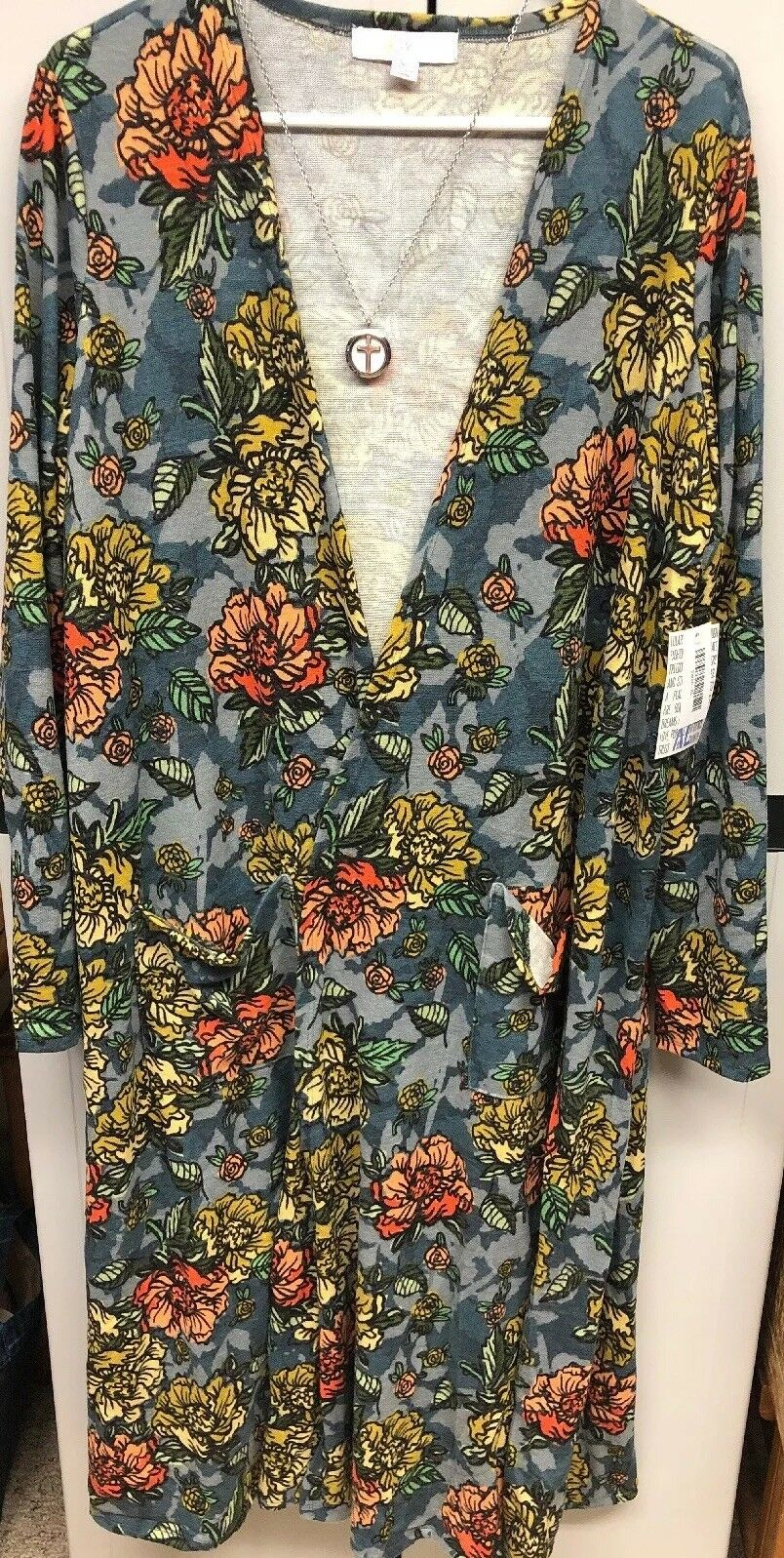 NWT LuLaRoe XL Sarah Cardigan Duster Sweater Slate bluee Coral gold Peach Floral