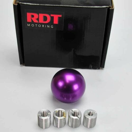 JDM SHORT STICK SHIFTER BALL SHIFT KNOB PURPLE W// FOUR UNIVERSAL ADAPTERS