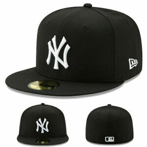 New-Era-New-York-Yankees-Black-White-Fitted-Hat-MLB-League-Cap