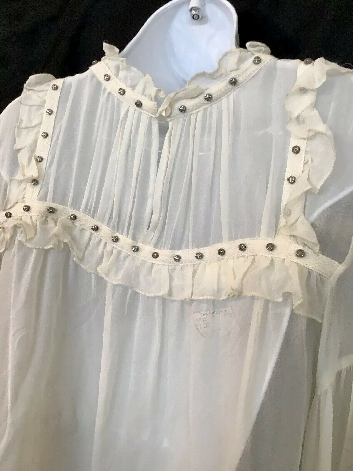 Flannel Silk Blouse Ivory Peasant Style Sheer Sil… - image 7