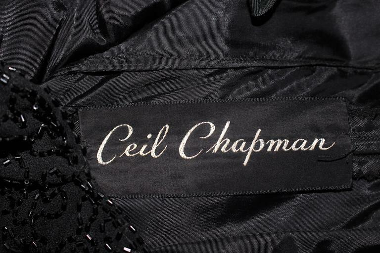 CEIL CHAPMAN Black Beaded Cocktail Dress Size 2 - image 10
