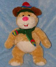 "Okie Dokie Plush Puppy Dog Bear Wearing Stripe Hat Scarf Stuffed Animal  12"""