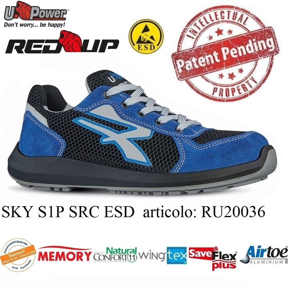 UPOWER chaussures LAVor ANTINFORTUNISTICA SKY S1P SRC ESD U-POWER RU20036 rouge UP