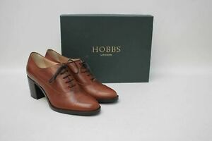 HOBBS-Ladies-Tan-Brown-Leather-Lace-Up-Block-Heel-Faye-Court-Shoes-EU38-UK5-NEW