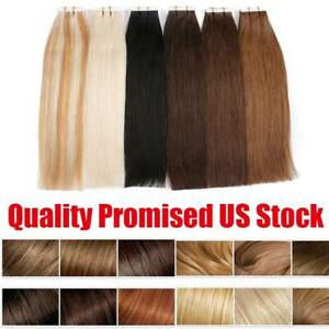 Details About Remy Invisible Tape In Human Hair Extensions Full Head Skin Weft 20 40 60pieces