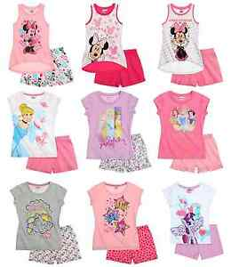 Disney-de-nina-Various-Oficial-verano-manga-corta-camiseta-amp-Pantalones-Cortos