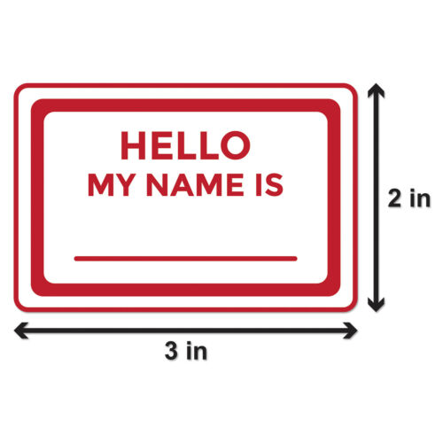 """2/""""x3/"""", 2PK Hello My Name is Stickers Introduction Badge Identification Labels"""