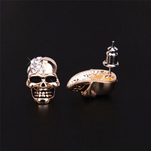 Femmes or//Silver Tone Crystal Diamond Skull piercing boucles d/'oreilles *FR
