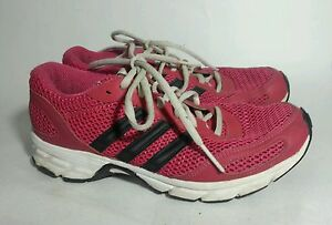 Adidas Pink Black White Womens Running Shoes Trainers Sneakers sz 7 Med
