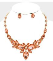 Champagne Peach Rose Gold Crystal Rhinestone Chandelier Necklace Earrings Set