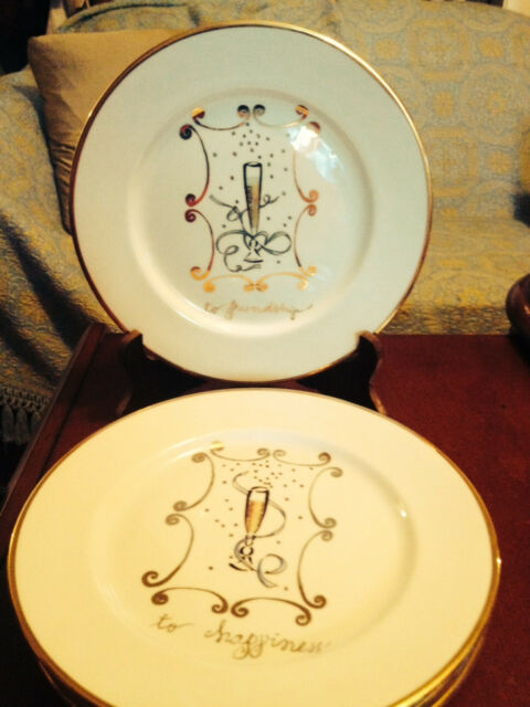 Set of four Celebration plates by Rosanna, Made in Italy