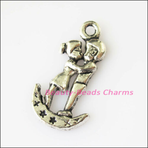 6Pcs Antiqued Silver Tone Lovers On Moon Charms Pendants 14.5x29mm