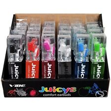 Vibe Juicy's Comfort Earbud Stereo Headphones - lot of 24 Multiple Colors