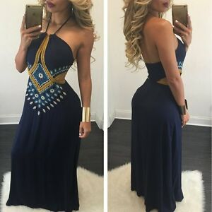 Women-Sexy-Cocktail-Evening-Party-BOHO-Halter-Bodycon-Long-Maxi-Dress-Plus-Size