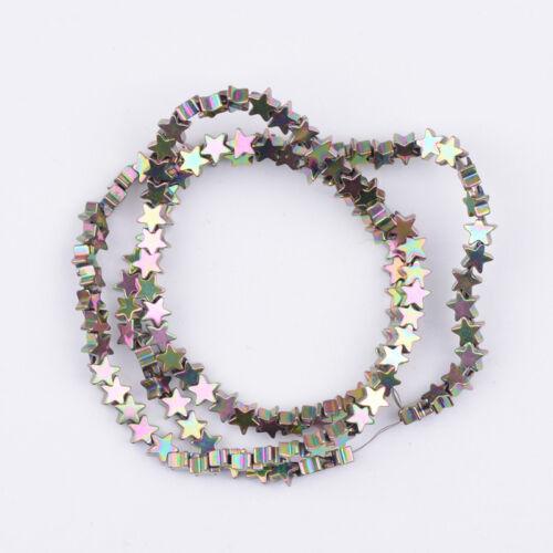 Natural Gemstone Hematite Five-Pointed Star Charm Bracelet Connector Spacer Bead