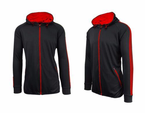 Mens Track Jacket Hoodie Coat Stripe Athletic Dry Fit Running Moisture Wicking
