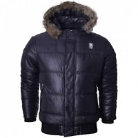 Crosshatch Men's Hooded  Fur Lined Parka Bomber Bubble Shiny Puffer Jacket Coat