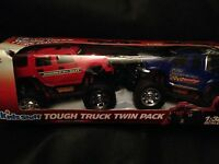 Kids Stuff Tough Truck Twin Pack, 1:32 Scale, Red Hummer H2 & Blue Ford 350