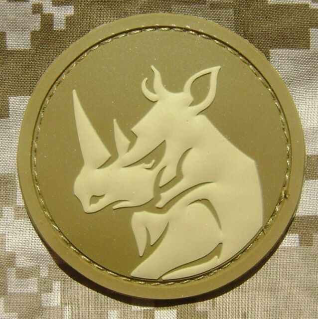 RHINO HEAD PVC TACTICAL MILITARY MORALE ISAF ARMY MILSPEC DESERT HOOK PATCH