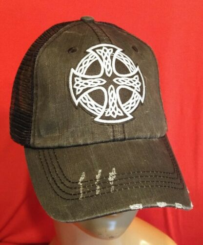 Irish Celtic Cross Distressed Black Hat Low Profile Cotton Mesh Baseball Cap