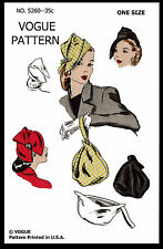 "Hats Cap & BAG Fabric Material Sewing Pattern VOGUE # 5260 Millinery 22"" 1950's"