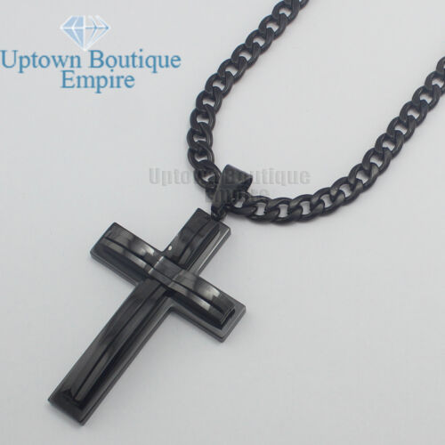 """20/""""24/""""36/""""men stainless steel Solid Black cross pendant 6mm cuban necklace chain"""