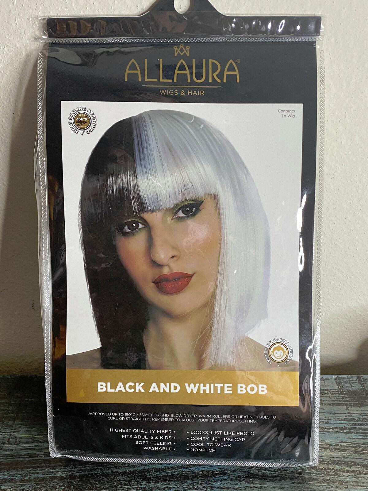 LADIES WOMENS BLACK PLAITS WIG /& WHITE PAINT HALLOWEEN FANCY DRESS COSTUME