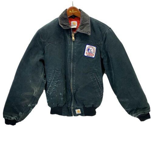 Carhartt Duck Jacket Black Faded Distressed Billin