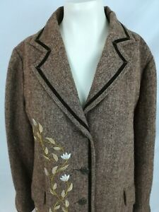 JL-Studio-Women-Coat-Jacket-Brown-with-floral-embroidery-Size-16W