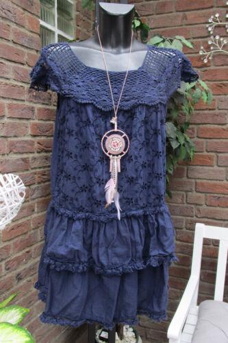 Sale Tunika Mini Kleid Lagenlook  Ibiza Stickerei Häkel Blau Volant 36 38 40