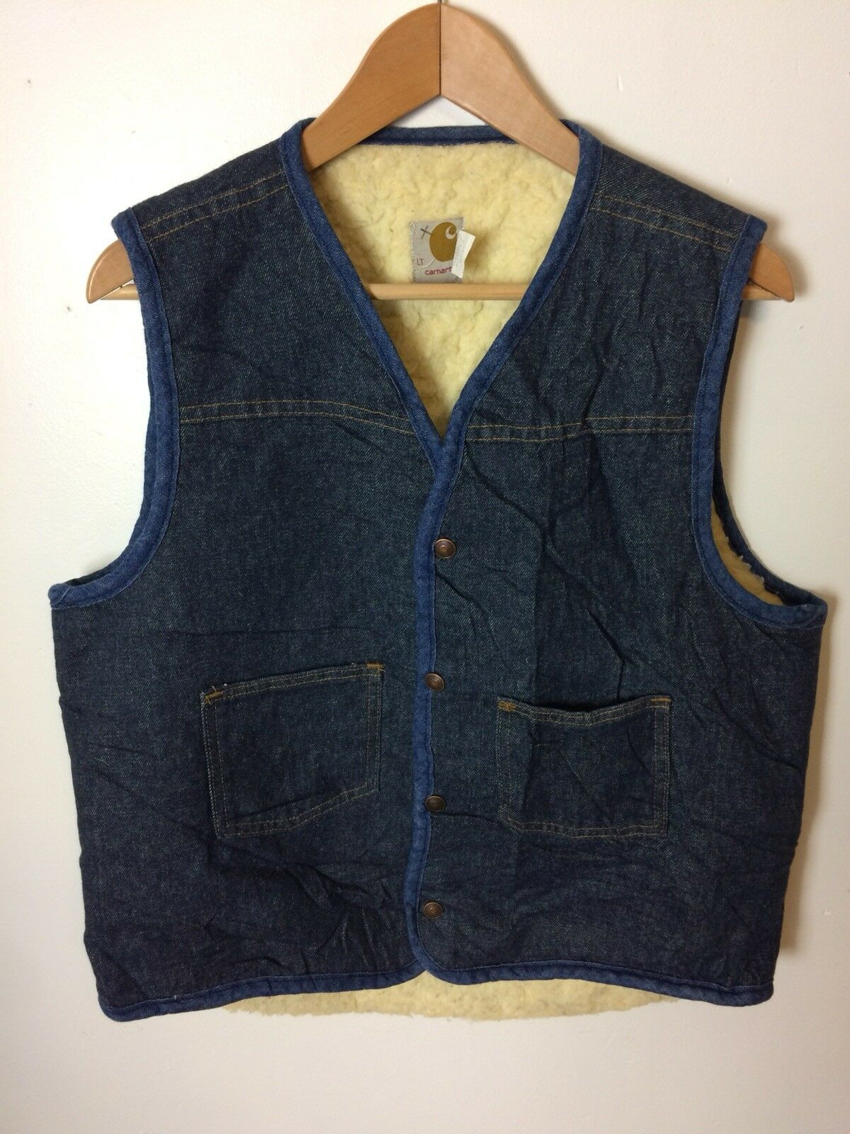 Vintage CARHARTT Sherpa Lined Vest Size Large Tall Denim bluee Made In USA