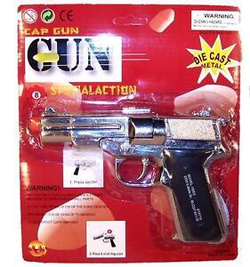 new-DIE-CAST-45-MAGNUM-8-SHOT-SILVER-METAL-CAP-GUN-toy-guns-pistol-shooter-new