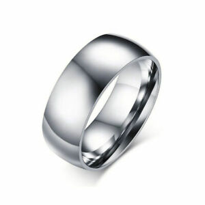 8MM-Classic-Silver-Titanium-Steel-Ring-Men-Women-039-s-Stainless-Wedding-Band-Sz5-14