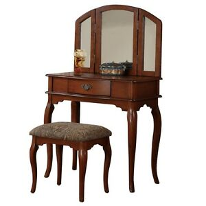 Vanity Makeup Table Dresser Wood Vintage Furniture Dressing Set Bedroom Mirror
