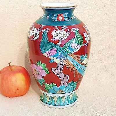 RK238 Japanische Deckelvase Vase Porzellan Vogel Blumen Dekor Japan