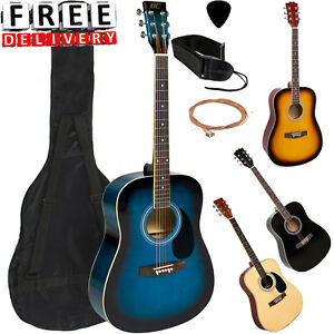 Acoustic-Guitar-41-034-Full-Size-Kit-Beginners-Youth-Strap-Pick-Steel-String-Set