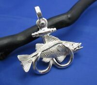 Custom Large Sterling Silver Double Fish Hook Anchor With Snook Pendant