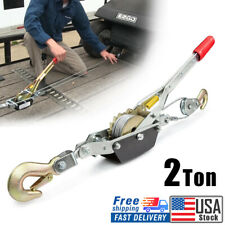 2 Ton 4000lbs Power Puller Hand Winch Steel Cable Come Along Tighter With 2 Hooks