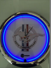 35th Anniversary Ford Mustang Neon Clock in Blue